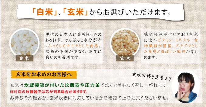 白米、玄米からお選びいただけます。