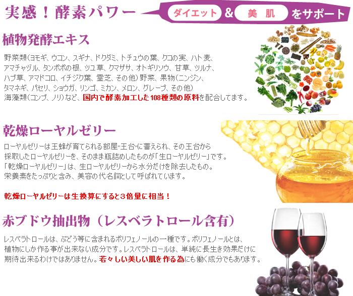 植物発酵エキス、感想ローヤルゼリー、赤ブドウ抽出物レスベラトロール