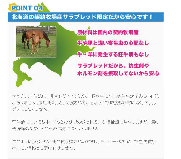 北海道の契約牧場産サラブレッドだから安心です。