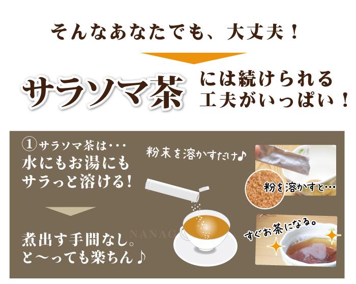 サラソマ茶には続けられる工夫がいっぱい!水にもお湯にもサラっと溶ける! 煮出す手間なし。と~っても楽ちん♪